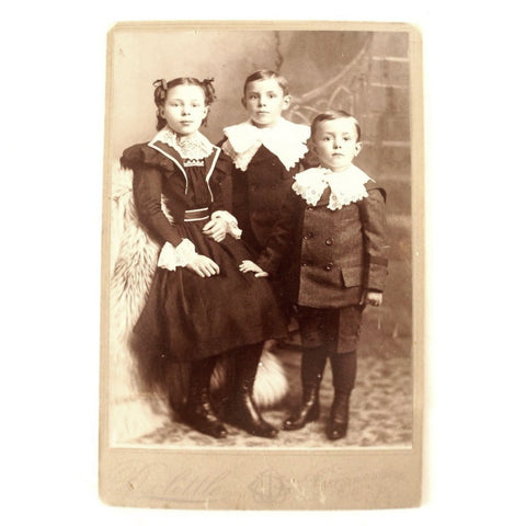 Antique Photograph Cabinet Card of Three Children - Mary Frank Harry Custard (c.1890s) - ThirdShiftVintage.com