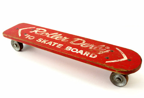 Vintage Roller Derby Wood Skateboard in Red with Steel Wheels (c.1950s) - thirdshift