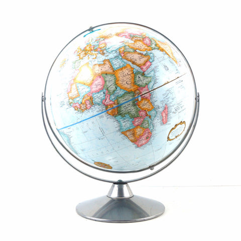 "Vintage Replogle World Classic World Globe with Light Blue Oceans, 12"" diameter (c.1980s) - ThirdShiftVintage.com"