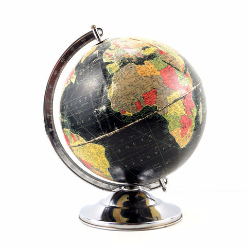 "Vintage Replogle Starlight World Globe with Black Oceans, 12"" diameter (c.1949) - ThirdShift Vintage"