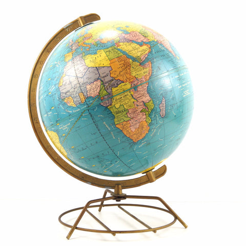 "Vintage Scholastic World Globe with Art Deco Wire Stand, 12"" diameter (c.1960) - ThirdShiftVintage.com"