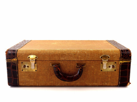 Vintage Tweed Hard Sided Suitcase with Leather Edges and Handle (c.1920s) - ThirdShift Vintage