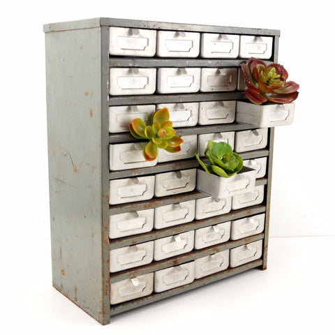 Vintage Metal Parts Drawer Hardware Bin with 32 Drawers in Silver (c.1950s) - ThirdShiftVintage.com