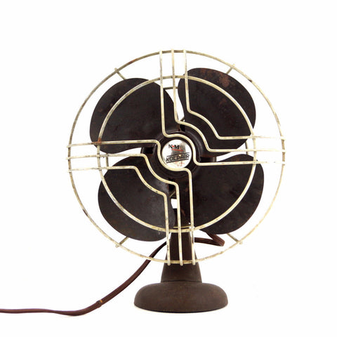 Vintage KoldAir Open Cage Fan in Black Cast Iron (c.1940s) - ThirdShiftVintage.com