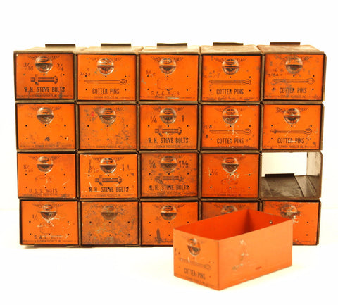 Vintage Dorman Parts Drawer Hardware Bin with 20 Drawers in Rustic Orange (c.1950s) N2