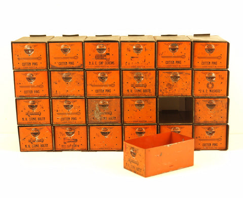 Vintage Dorman Parts Drawer Hardware Bin with 24 Drawers in Rustic Orange (c.1950s) N1 - ThirdShift Vintage