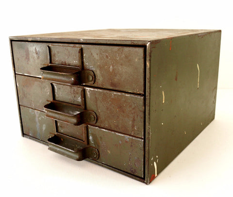 Vintage Industrial Hardware Cabinet Parts Bin with 3 Drawers  (c.1940s) - ThirdShiftVintage.com