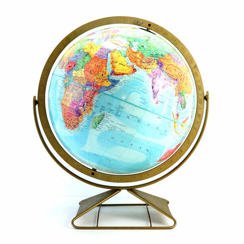 "Vintage Replogle Stereo Relief World Globe with Art Deco Stand, 12"" diameter (c.1962) - ThirdShift Vintage"