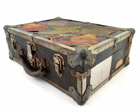 Vintage Metal Roller Skate Case in Black with Original Stickers (c.1950s) - ThirdShiftVintage.com