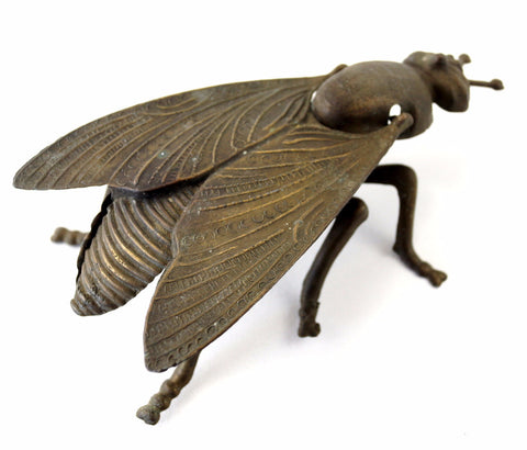 Vintage Brass Fly Ashtray / Trinket Box with Pivoting Wings, Made in Italy (c.1930s) - thirdshift