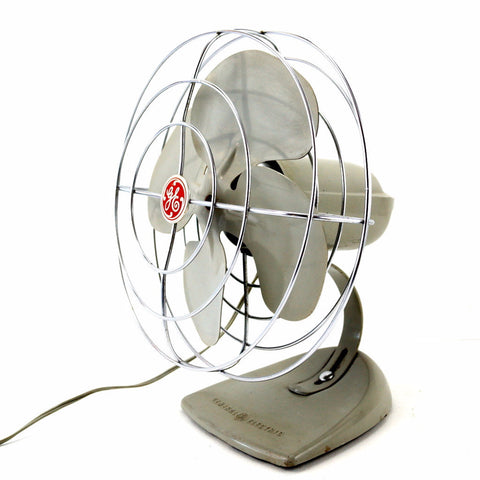 Vintage Industrial Open Cage Oscillating Fan by General Electric (c.1950s) - ThirdShiftVintage.com