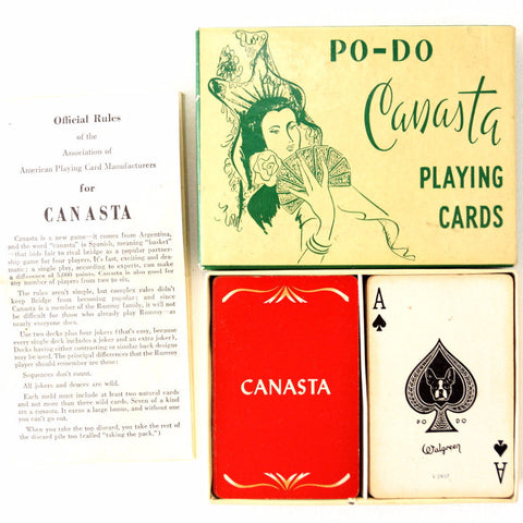 Vintage Po-Do Canasta Playing Cards Game (c.1950s) - thirdshift
