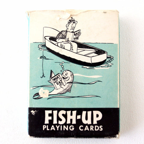 Vintage Fish-Up Playing Cards in Original Box (c.1950s) - ThirdShift Vintage