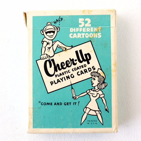 Vintage Cheer-Up Playing Cards in Original Box (c.1950s) - thirdshift