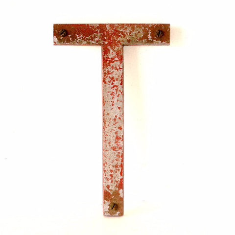 "Vintage Industrial Metal Letter ""T"" Marquee Sign 10 inches tall (c.1950s) N1 - ThirdShiftVintage.com"