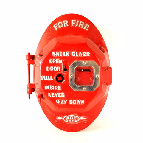 Vintage Cast Iron Fire Alarm Call Box in Bright Red (c.1960s) - ThirdShiftVintage.com