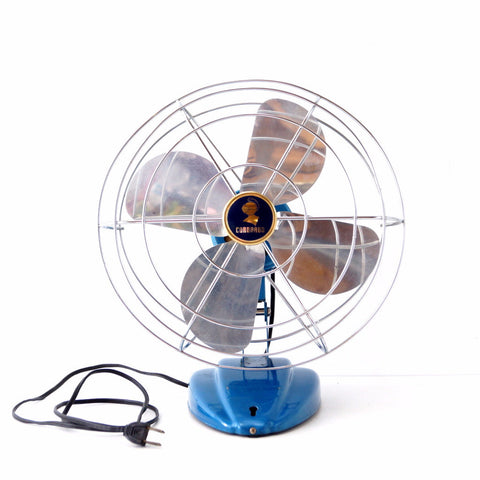 Vintage Oscillating Open Cage Desk Fan by Coronado in Metallic Blue (c.1950s) - ThirdShift Vintage