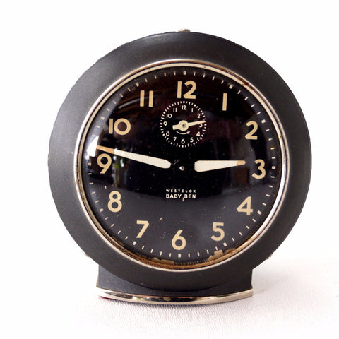 Vintage Baby Ben Alarm Clock by Westclox in Black and Ivory (c.1943) - thirdshift