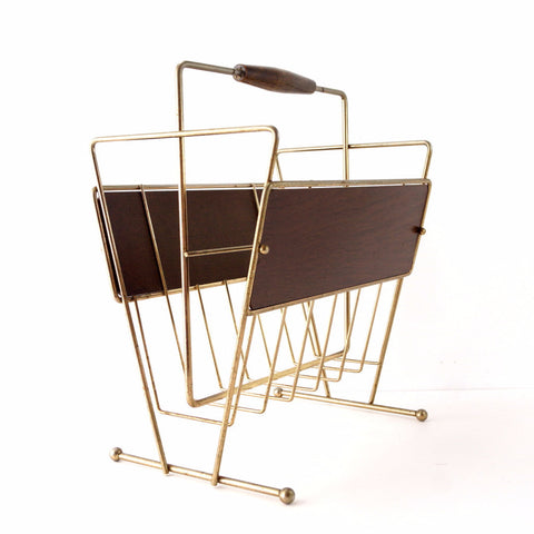 Vintage Magazine Rack in Wood and Brass, Mid Century Modern (c.1950s) - ThirdShift Vintage