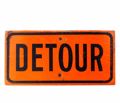 "Vintage Wood ""Detour"" Sign in Orange and Black (c.1960s)"