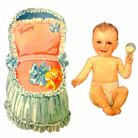 "Vintage Paper Baby Doll ""Tommy"" with Clothing, 14 pieces (c.1940s) - ThirdShiftVintage.com"