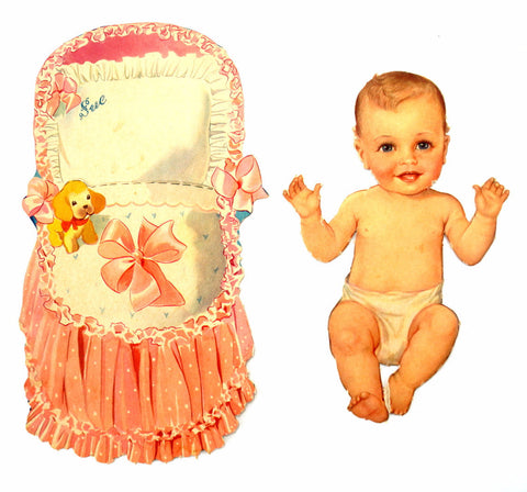 "Vintage Paper Baby Doll ""Sue"" with Clothing, 34 pieces (c.1940s) - ThirdShift Vintage"
