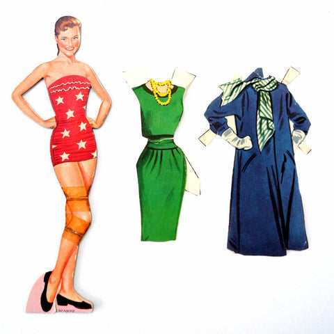 "Vintage Paper Doll ""Dianne"" with Clothing, 3 pieces (c.1940s) - ThirdShiftVintage.com"