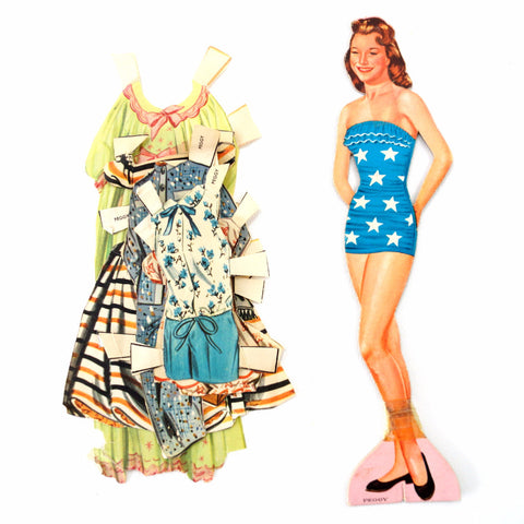 "Vintage Paper Doll ""Peggy"" with Clothing, 6 pieces (c.1940s) - ThirdShift Vintage"