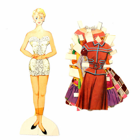 "Vintage Paper Doll ""Judy"" with Clothing, 11 pieces (c.1940s) - ThirdShiftVintage.com"