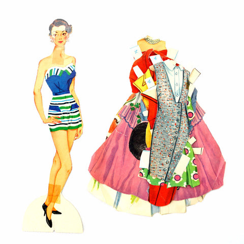 "Vintage Paper Doll ""Carole"" with Clothing, 10 pieces (c.1940s) - ThirdShiftVintage.com"