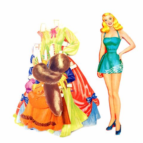 Vintage Paper Doll Blonde Woman with Clothing, 21 pieces (c.1940s) - ThirdShiftVintage.com