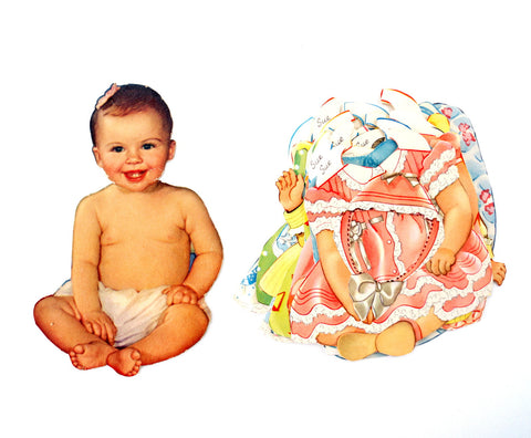 "Vintage Paper Baby Doll ""Sue"" with Clothing, 21 pieces (c.1940s) - ThirdShift Vintage"