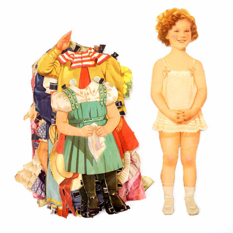 "Vintage Paper Doll ""Shirley Temple"" with Clothing, 13 pieces (c.1940s) - ThirdShiftVintage.com"