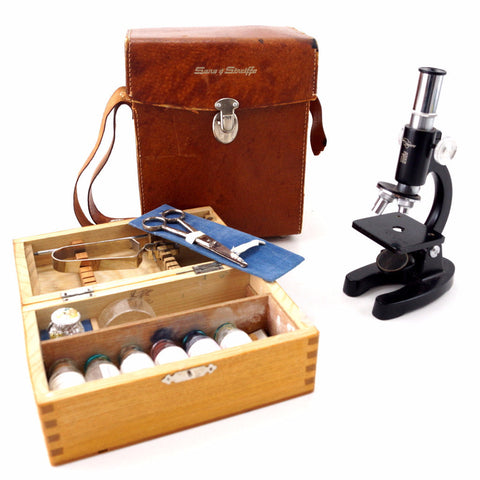 Vintage Microscope Kit by Sans & Streiffe, 500x Zoom (c.1950s) - ThirdShiftVintage.com