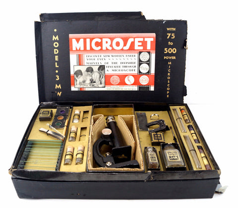 Vintage Microset Microscope Kit Model 3 MW, 75-500x Zoom (c.1920s) - ThirdShift Vintage