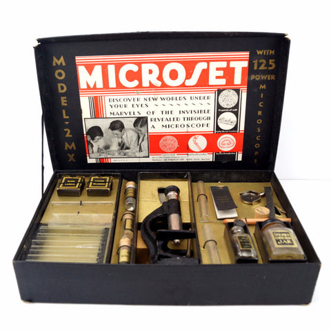 Vintage Microset Microscope Kit Model 2 MX, 125x Zoom (c.1920s) - ThirdShift Vintage
