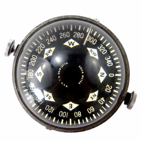 Vintage Marine Compass Liquid Filled in Black Metal Housing by Aqua Meter (c.1950s) - thirdshift
