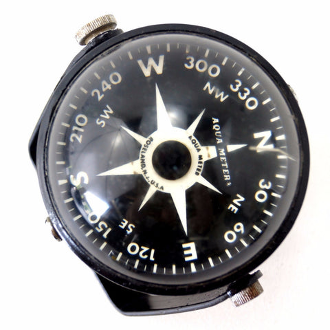 Vintage Marine Compass Liquid Filled in Black Metal Housing by Aqua Meter (c.1950s) N2 - ThirdShift Vintage