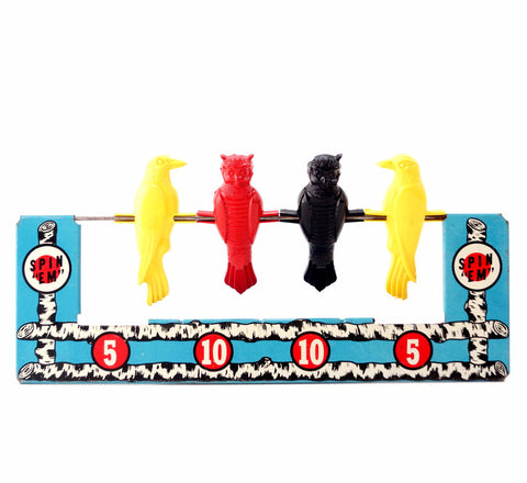 Vintage Spin Em Bird Target Game Metal Lithograph Toy by Wyandotte (c.1950s) - ThirdShiftVintage.com