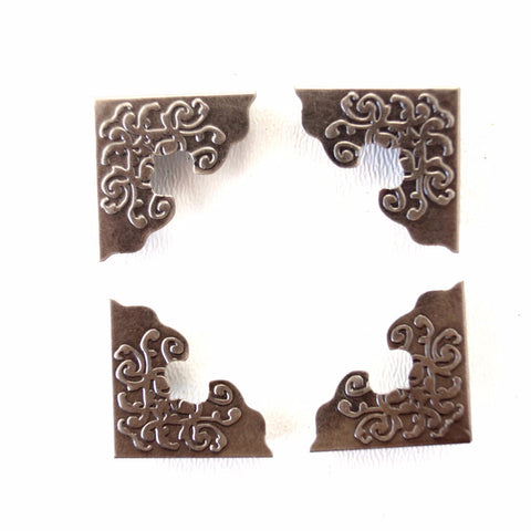 Ornate Metal Photo Corners in Antique Nickel Finish (Set of 4) - ThirdShiftVintage.com