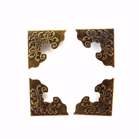 Ornate Metal Photo Corners in Antique Brass Finish (Set of 4) - ThirdShiftVintage.com