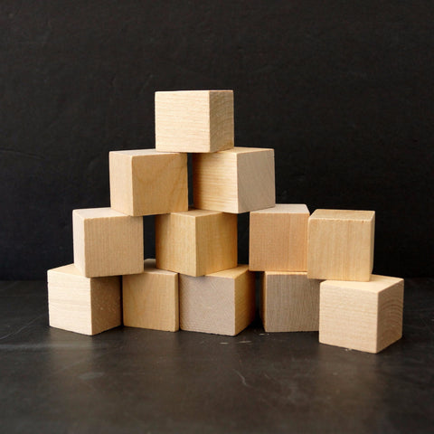 Blank Do-It-Yourself Wood Blocks / Cubes, 1-1/4 inch cube (Set of 12) - thirdshift