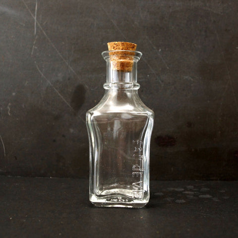 "Small Square Glass Bottle with Cork (4"" tall x 1.75"" wide), 50 ml capacity - ThirdShift Vintage"