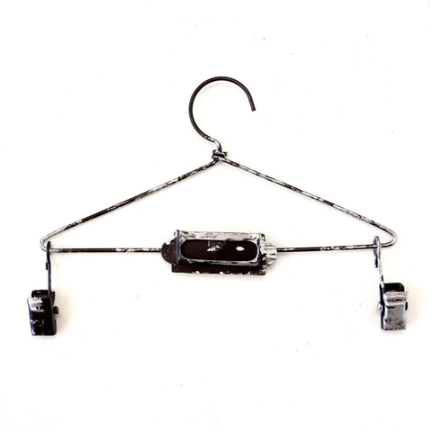 "Metal Hanger with Clips in Antique Nickel Finish, 5-3/4"" wide - ThirdShiftVintage.com"