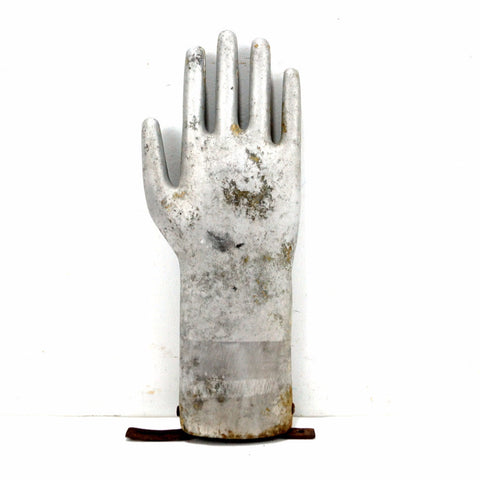 Vintage Aluminum Glove Mold, Silver Metal Hand, 13 inches tall (c.1970s) N5 - thirdshift