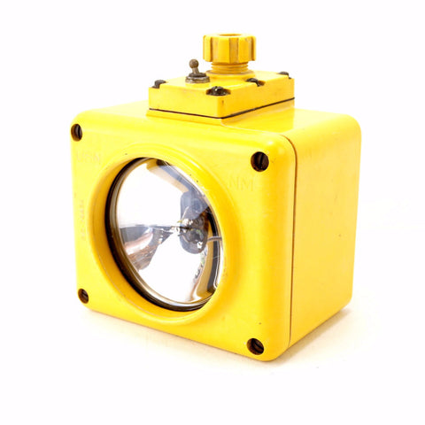 Vintage US Navy Battle Lantern Waterproof Light in Bright Yellow (c.1960s) - ThirdShiftVintage.com