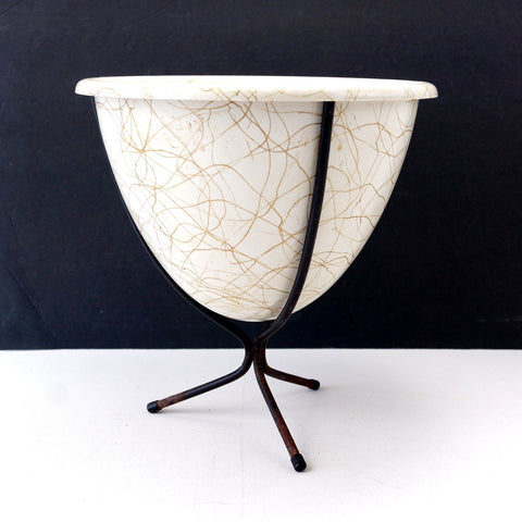Vintage Mid Century Tripod Bullet Planter with Drizzle Pattern (c.1960s) - ThirdShiftVintage.com