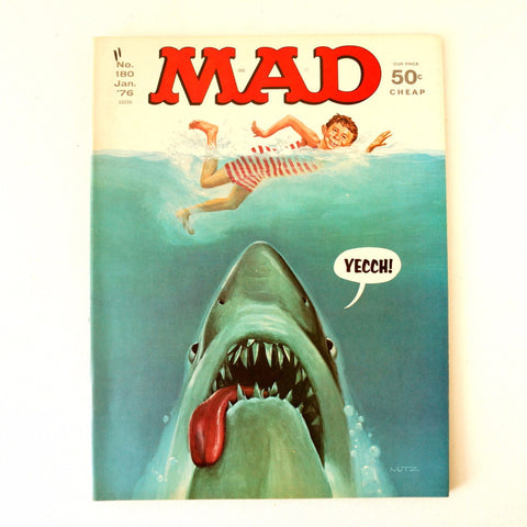 "Vintage MAD Magazine ""JAWS"" Shark Parody Issue #180 (c.Jan. 1976) N1 - thirdshift"