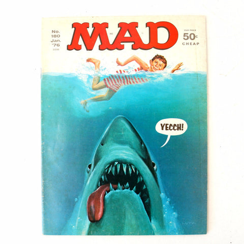 "Vintage MAD Magazine ""JAWS"" Shark Parody Issue #180 (c.Jan. 1976) N2 - thirdshift"