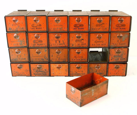 Vintage Dorman Parts Drawer Hardware Bin with 24 Drawers in Rustic Orange (c.1950s) N4 - ThirdShiftVintage.com